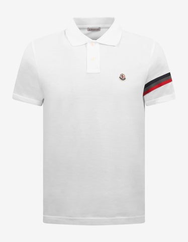 Red & Brown Stripe Grosgrain Collar Polo T-Shirt