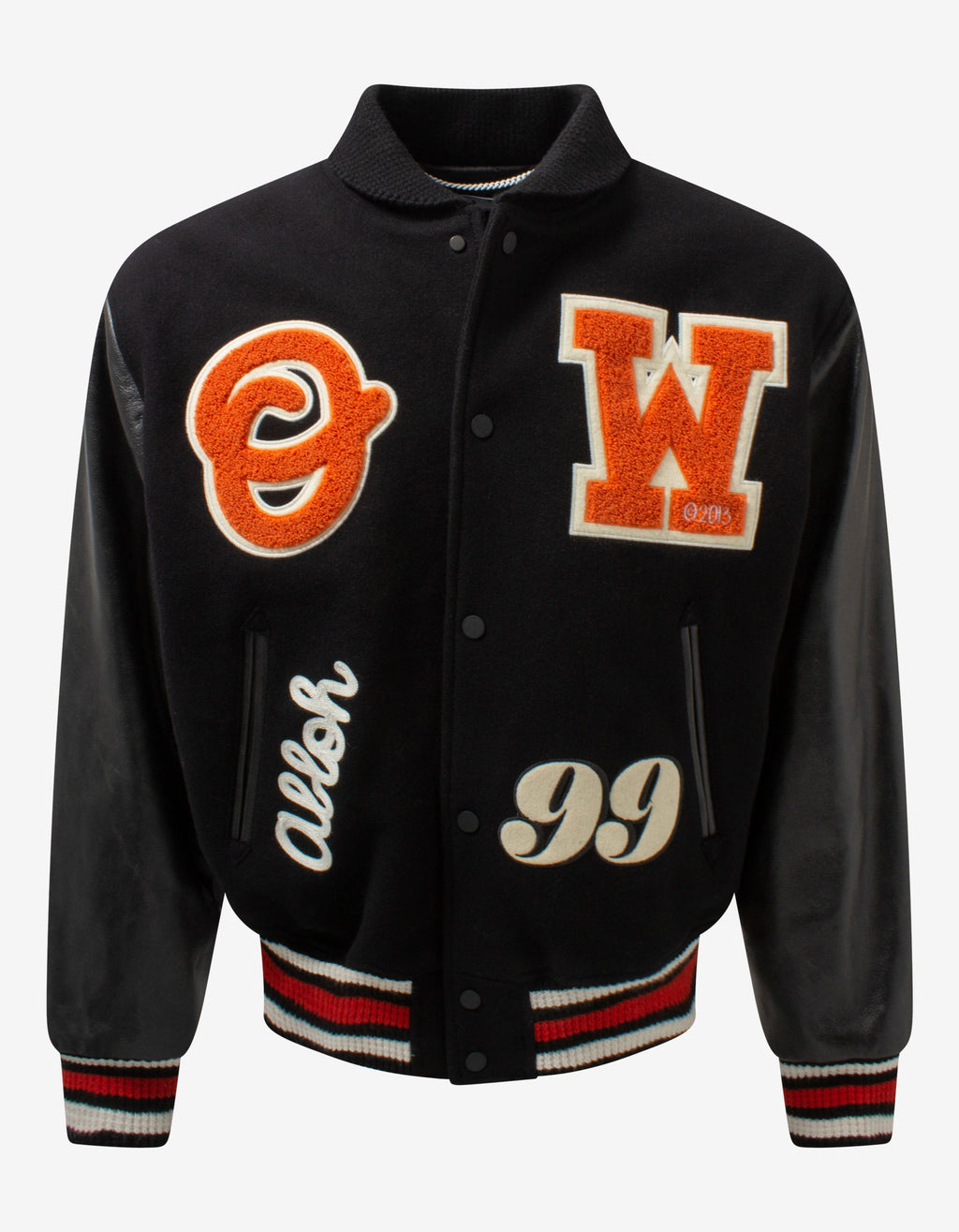 Black Barrel Leather Varsity Jacket