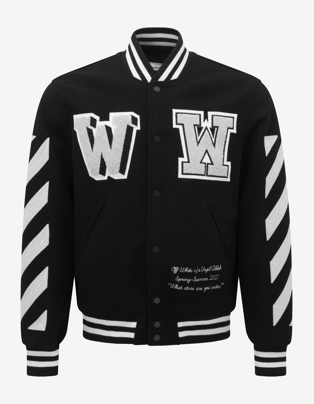 Black Diagonal Varsity Jacket