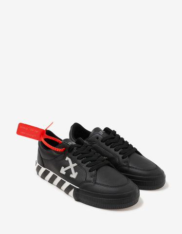 Black Grain Leather Low Vulcanized Trainers