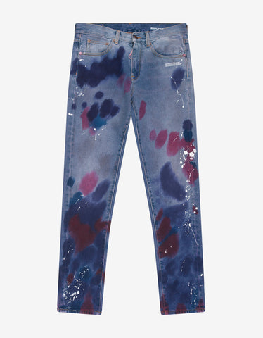 Navy Blue Mermaids Embroidery Skinny Jeans