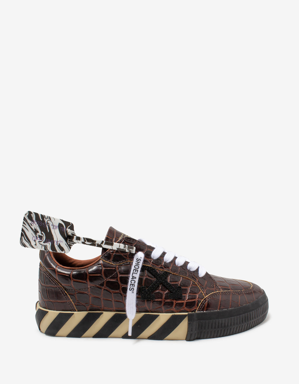 Brown Croc Embossed Leather Low Vulcanized Trainers