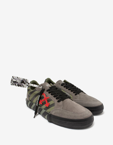 Grey & Green Leather Low Vulcanized Trainers