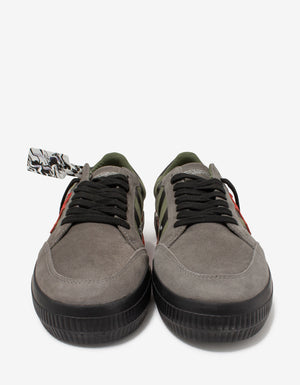 Khaki & Red Low Vulcanized Trainers