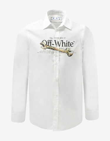 White Refracted Print Shirt