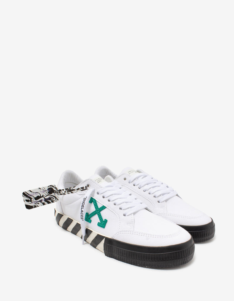 White & Green Low Vulcanized Trainers