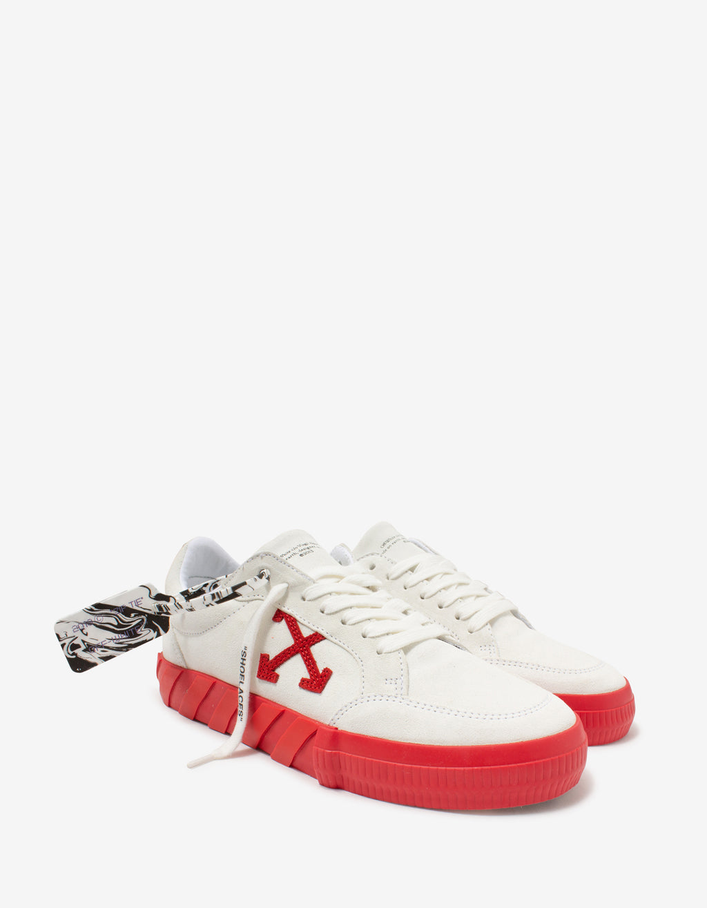 White & Red Suede Low Vulcanized Trainers