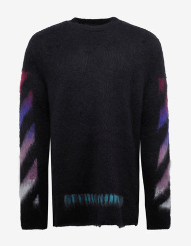 Off-White Black Brushed Wool Oversized Sweater with Arrows