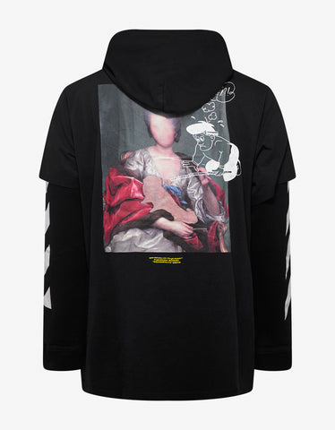 Black Diag Mariana Hooded T-Shirt