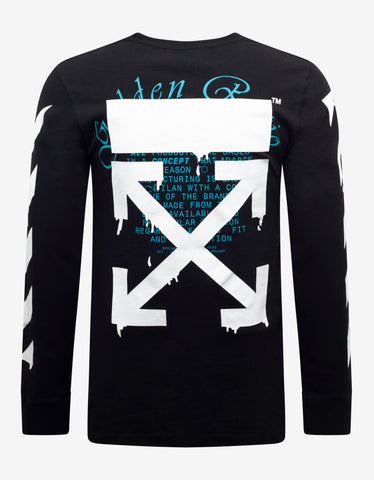 Off-White Black Dripping Arrows Print Long Sleeve T-Shirt