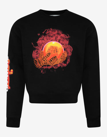 Off-White Black Hands & Planet Print Oversized Sweatshirt