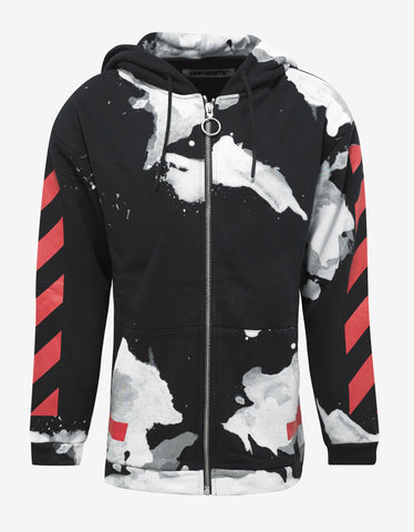 Off-White Black Tracksuit with White Liquid Spots