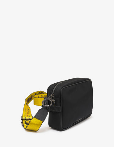 Black Industrial Logo Strap Cross-body Bag