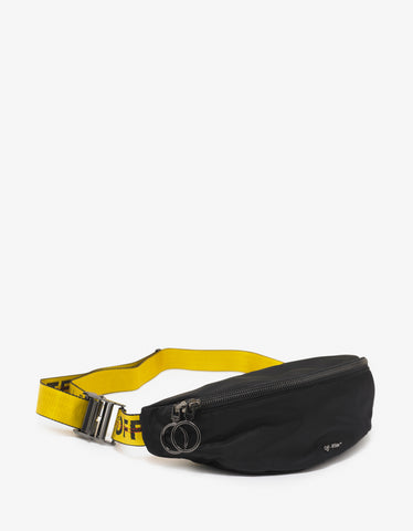 Black Industrial Logo Strap Waist Bag