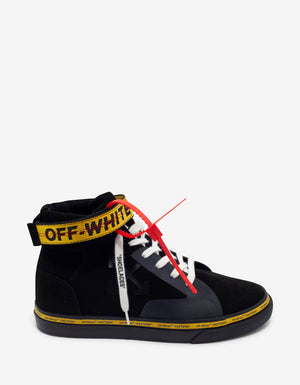Black Industrial Vulcanized Mid Top Trainers -