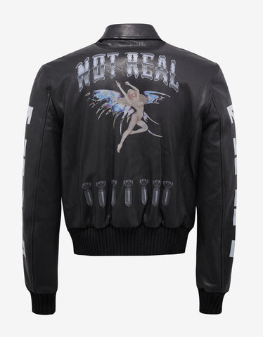 Off-White Black Leather Bomber Aviator Jacket