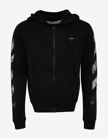 Black Multicolour Arrows Print Zip Hoodie