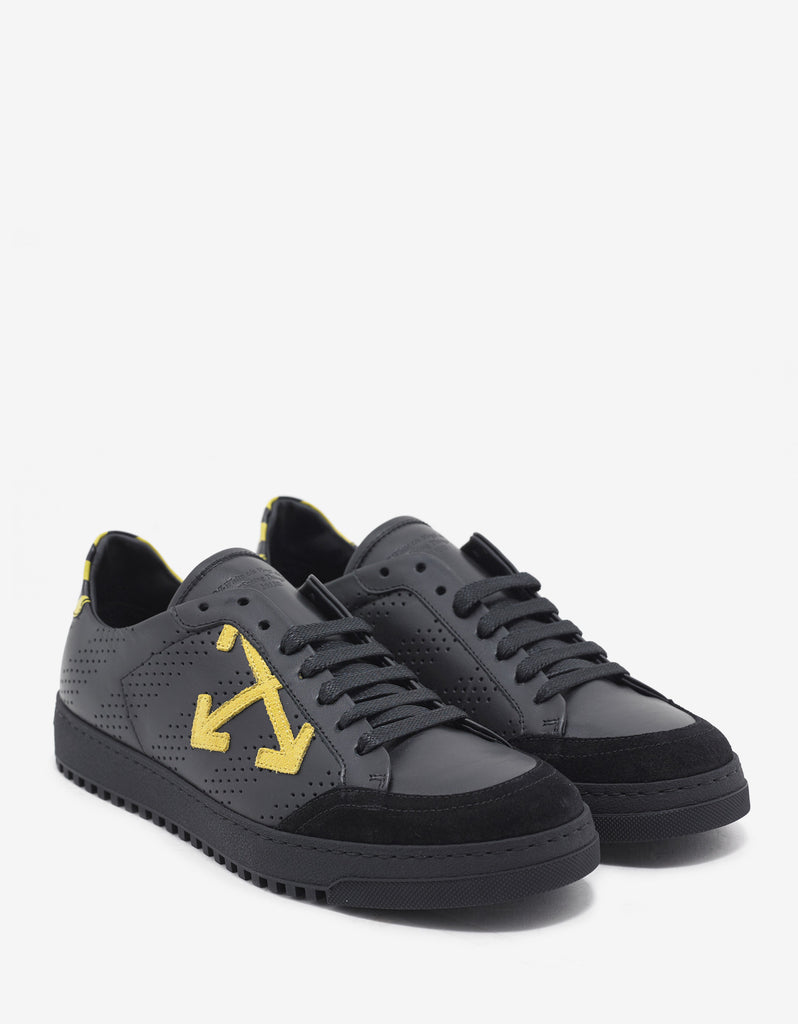 Black Trainers with Yellow Diagonal Print