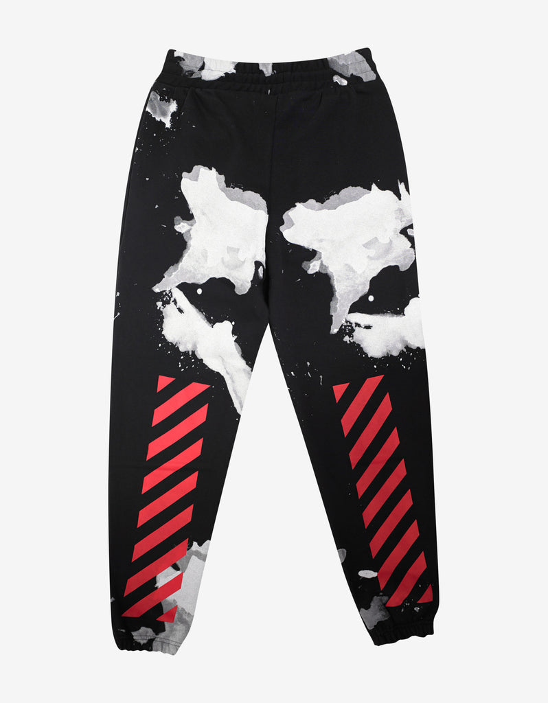 Black Sweat Pants with White Liquid Spots