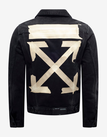 Off-White Black Tape Arrows Print Denim Jacket