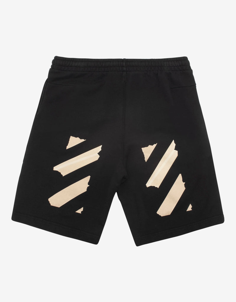 Black Tape Arrows Print Sweat Shorts