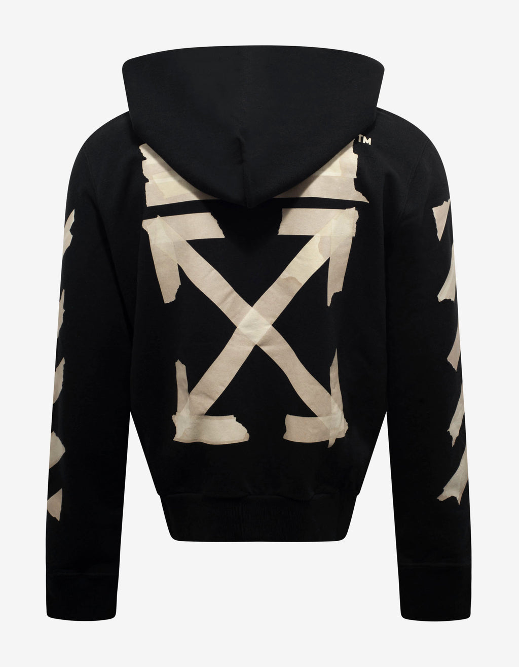 Black Tape Arrows Print Zip Hoodie