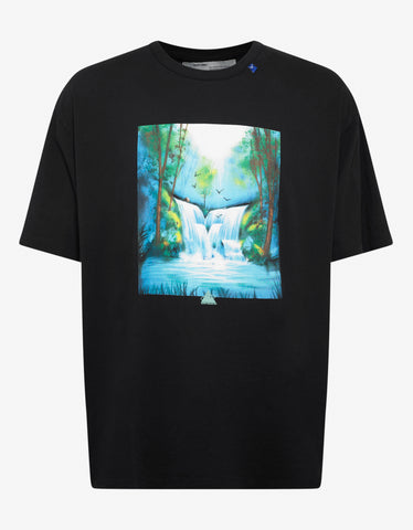 Black Waterfall Over T-Shirt