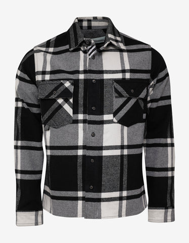 Black & White Stencil Arrows Print Flannel Shirt