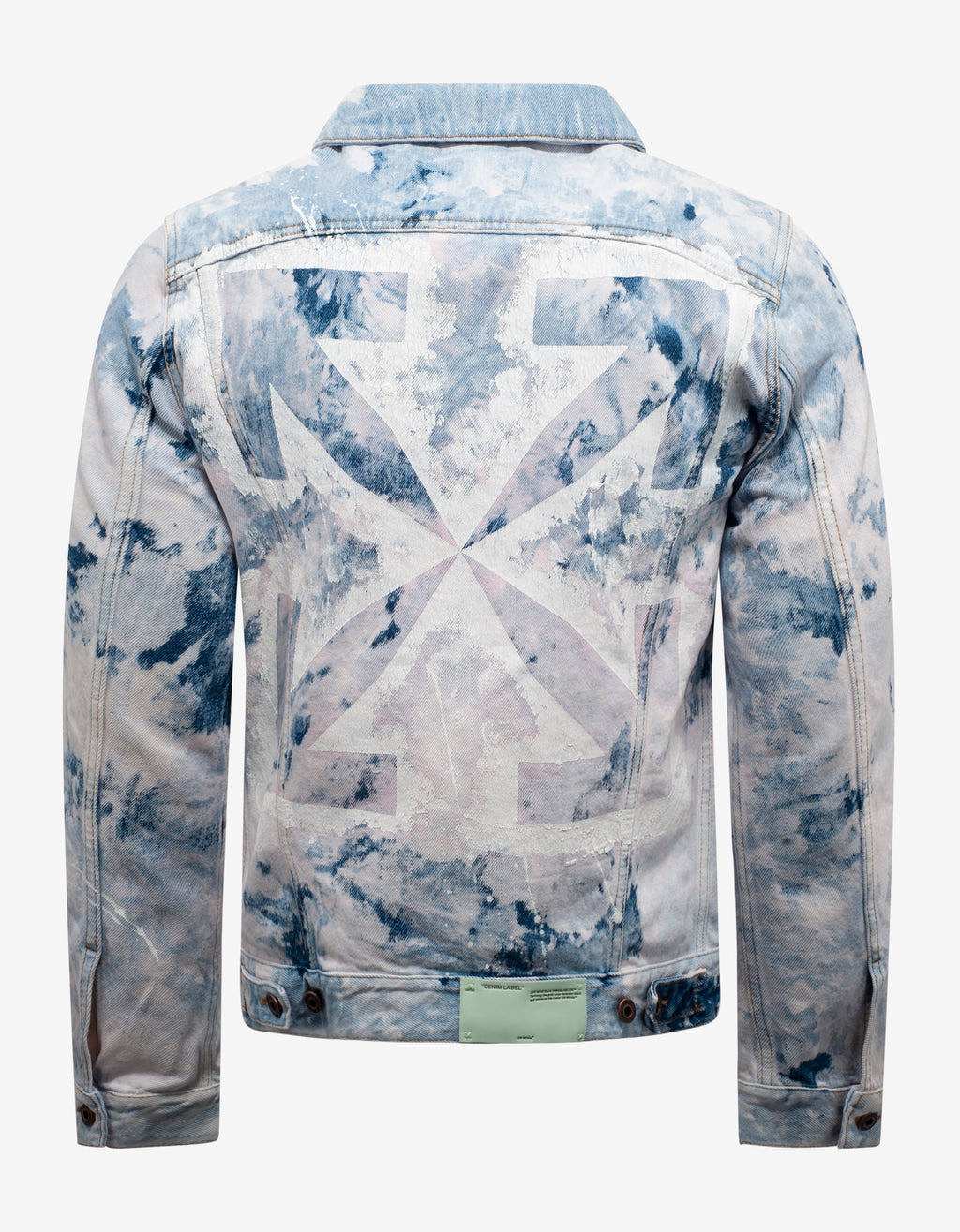 Bleach Wash Arrows Print Denim Jacket