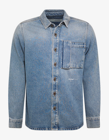 Blue Bleached Denim Shirt