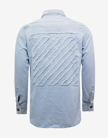 Off-White Blue Denim Shirt with Raw Edge Diagonals