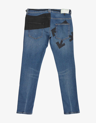 Off-White Blue Printed Skinny Jeans