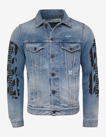Blue Stencil Arrows Print Denim Jacket