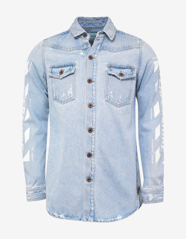 Off-White Blue Temperature Print Denim Shirt
