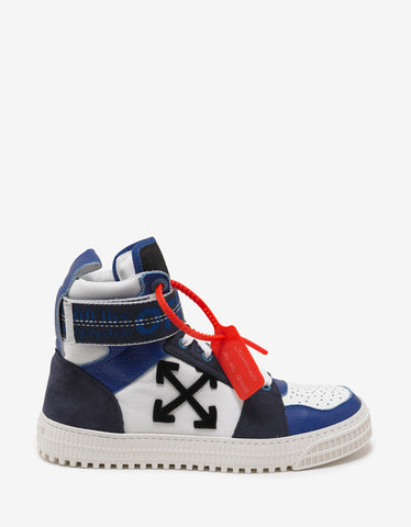 Blue & White Industrial Belt High Top Trainers