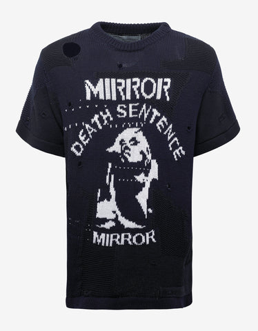 Off-White Blue & Black 'Death Sentence' Knitted T-Shirt