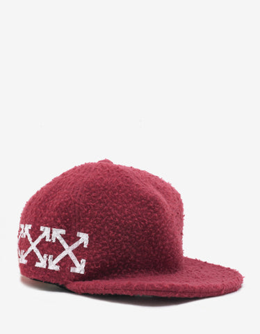 Off-White Bordeaux Arrows Print Wool Cap