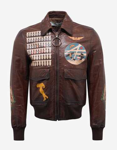 Off-White Brown Leather Bomber Aviator Jacket