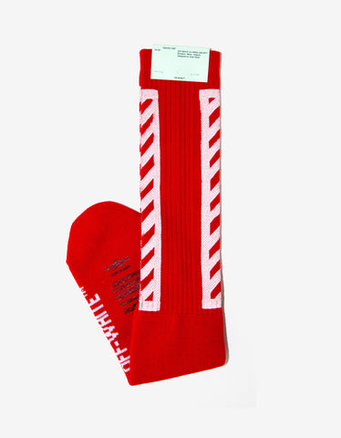 Off-White Brushed Diagonals Red Socks