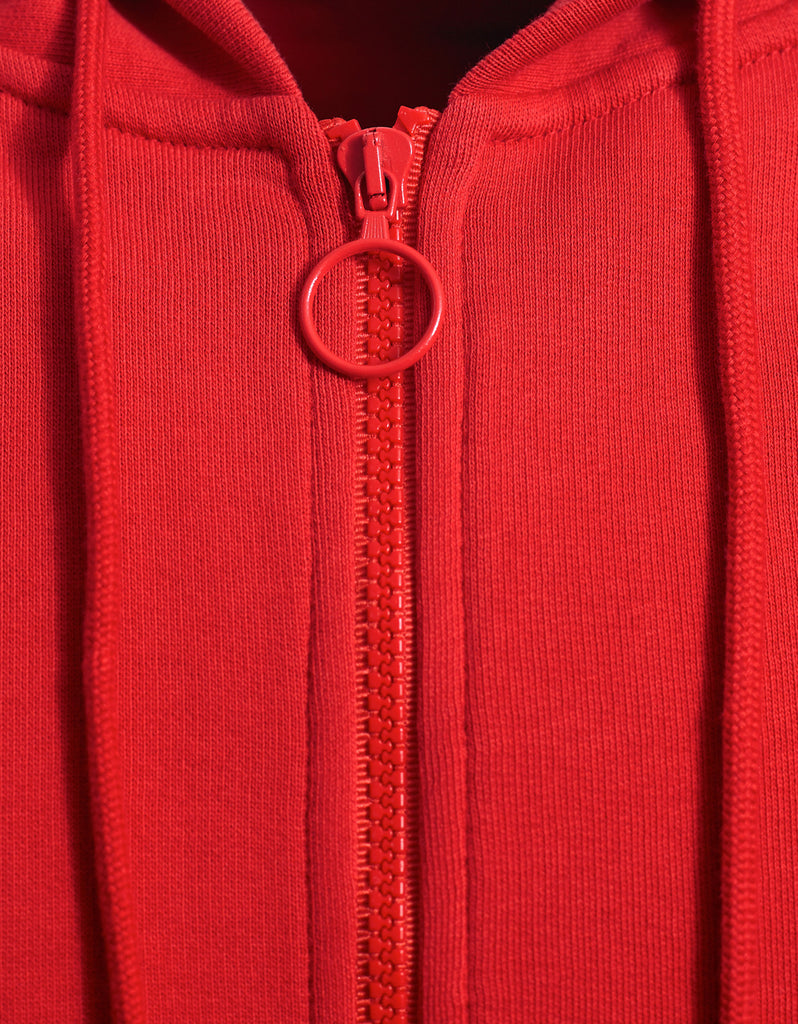 Brushed Diagonals Red Zipped Hoodie