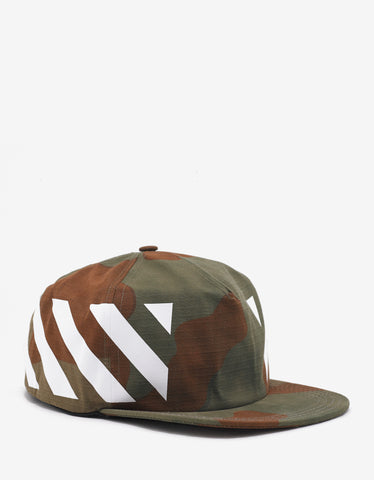 Off-White Camouflage Diagonal Stripe Print Cap