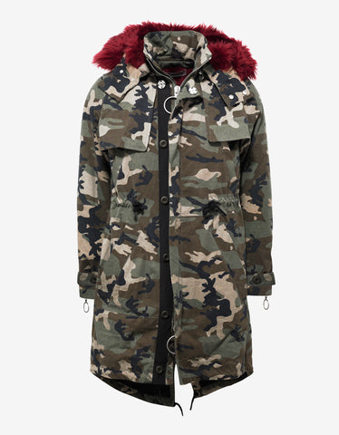 Off-White Camouflage Parka with Red Faux Fur