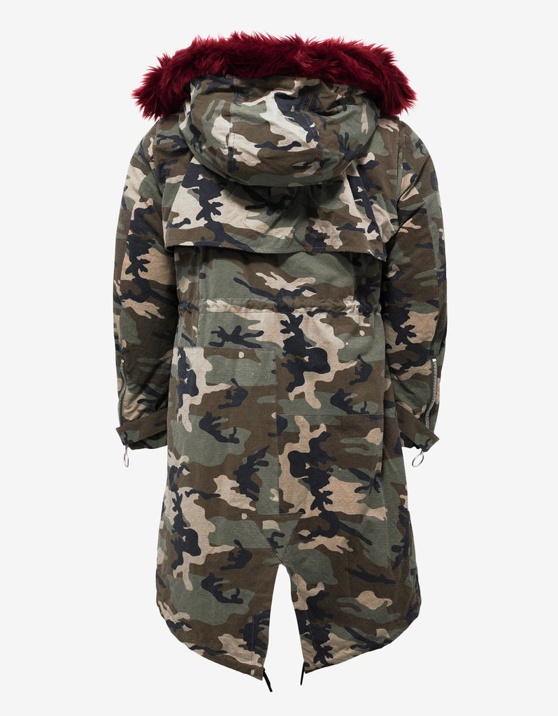 Camouflage Parka with Red Faux Fur