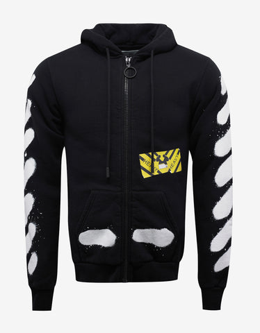 Off-White Black Diagonal Spray Print Zip Hoodie