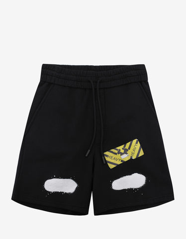 Off-White Diagonal Spray Print Black Sweat Shorts