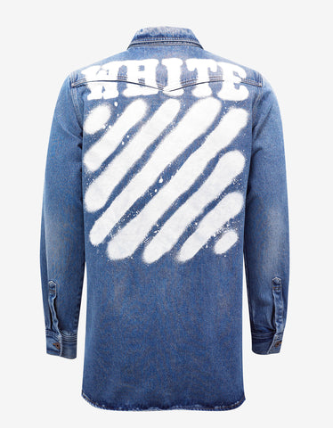 Off-White Diagonal Spray Print Blue Denim Shirt