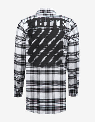 Off-White Diagonal Spray Print Check Shirt