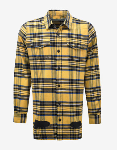 Off-White Diagonal Spray Print Yellow Check Shirt