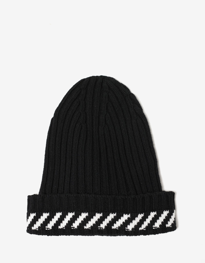 Diagonals Black Beanie Hat