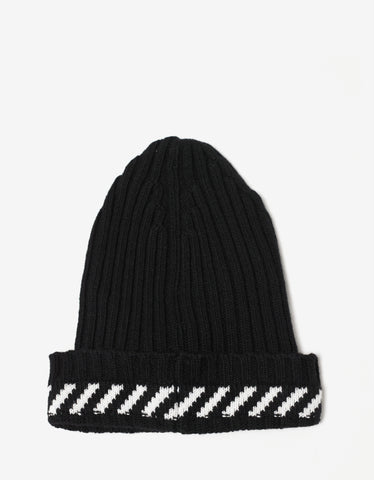 Off-White Diagonals Black Beanie Hat